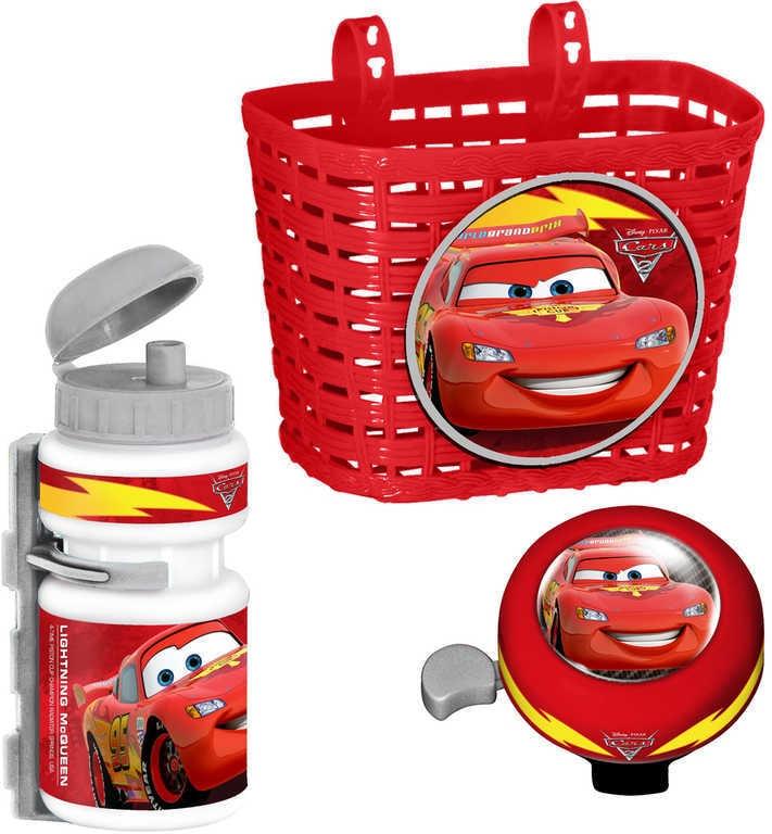 Mix hračky Doplňky plastové na dětské kolo Cars (Auta) set košík, láhev na nápoj, zvonek