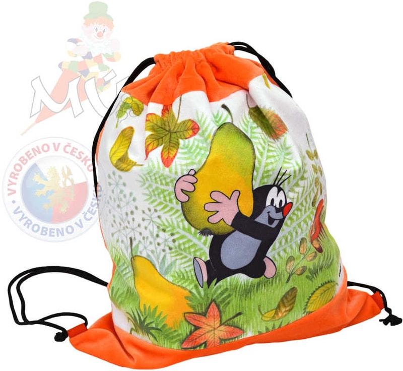MORAVSKÁ ÚSTŘEDNA Krtek baťůžek stahovací oranžový hruška
