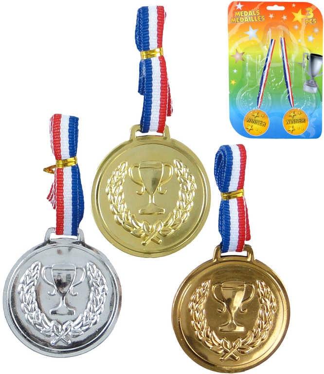 Mix hračky Sada 3 kovové medaile trikolora pro vítěze na kartě - dle obrázku