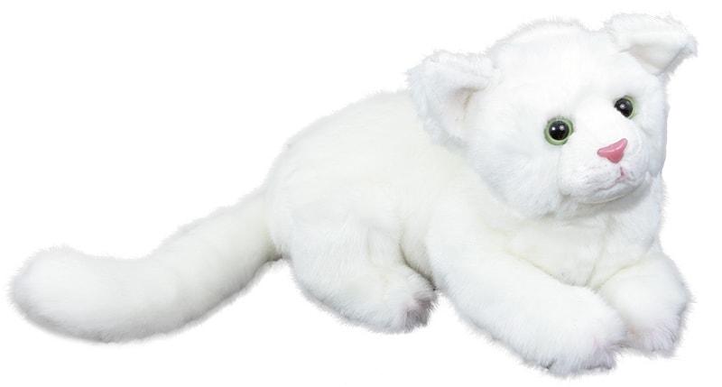 Rappa Plyšová kočka bílá ležící, 26 cm