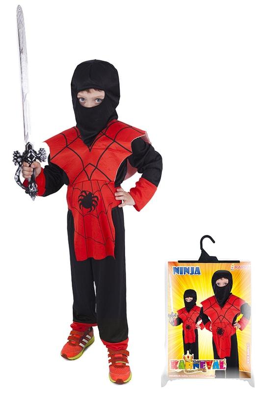Rappa Karnevalový kostým pro děti NINJA pavouk, vel. S - dle obrázku