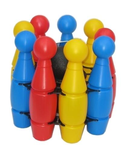 Mix hračky Kuželky barevné PLASTOVÉ velké v držáku 9 ks - dle obrázku