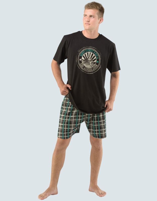 Gina Pánské pyžamo krátké s potiskem 79013P - černá šalvěj - M