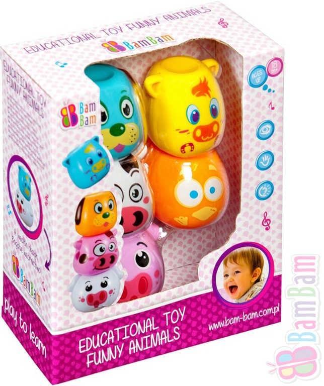 Bam Bam Zvířátka hrací edukativní chrastící se zvukem v krabici - dle obrázku