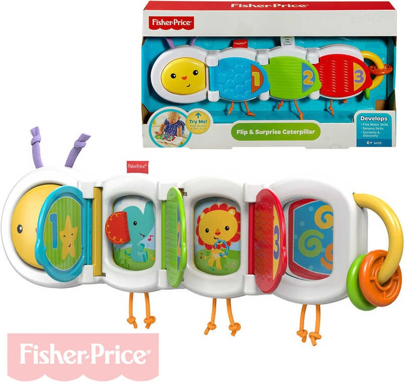 Fisher Price Baby housenka plastová s překvapením zvířátka s okénky