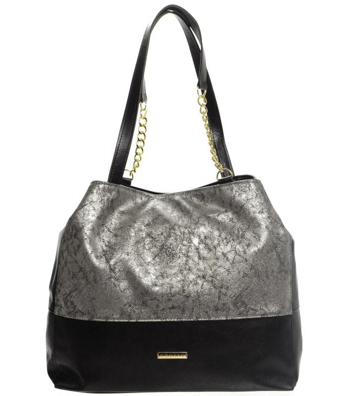 Grosso Stříbrno-černá patinovaná kabelka s řetízky S611 - dle obrázku