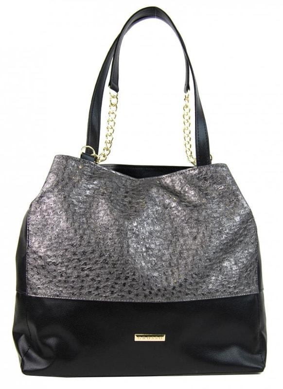 Grosso Stříbrno-černá kabelka s řetízky S611 - dle obrázku