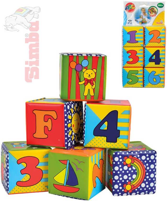 Simba Baby soft kostky měkké set 6ks s obrázky, čísly a písmenky pro miminko