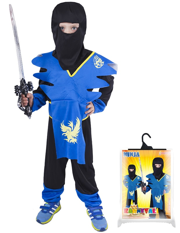 Rappa Karnevalový kostým pro děti NINJA modro-žlutý, vel. S