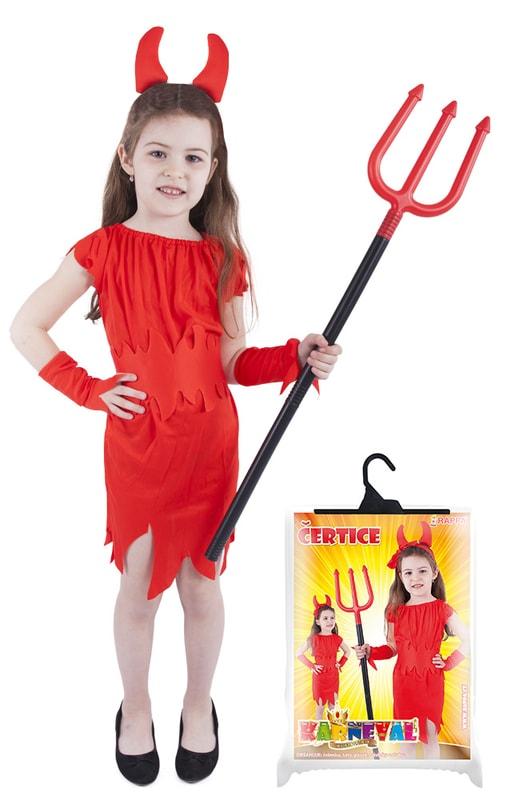 Rappa Karnevalový kostým pro děti čertice červená, vel. M