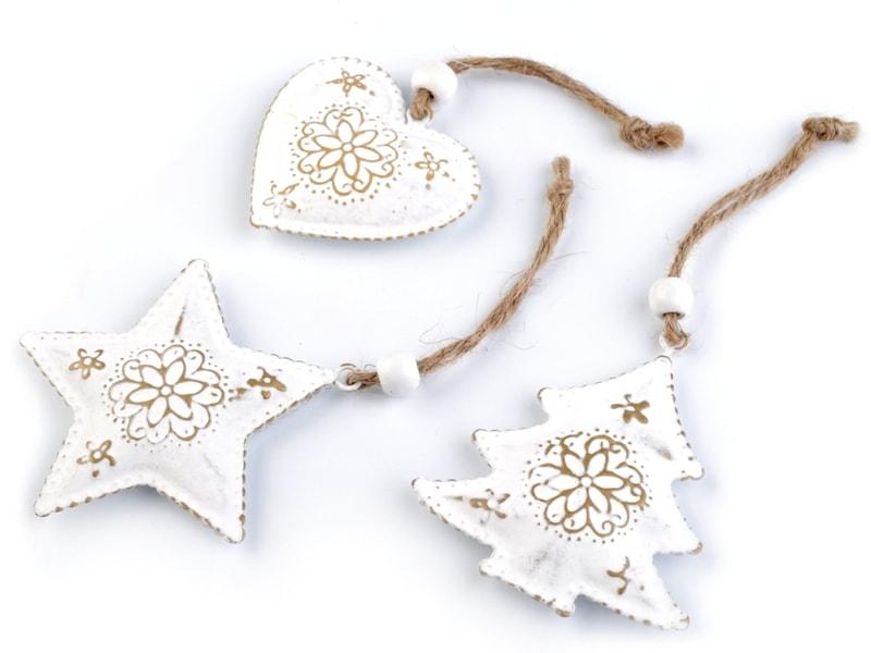 Stoklasa Vánoční kovová dekorace - srdce, stromek, hvězda (3 ks) - sada