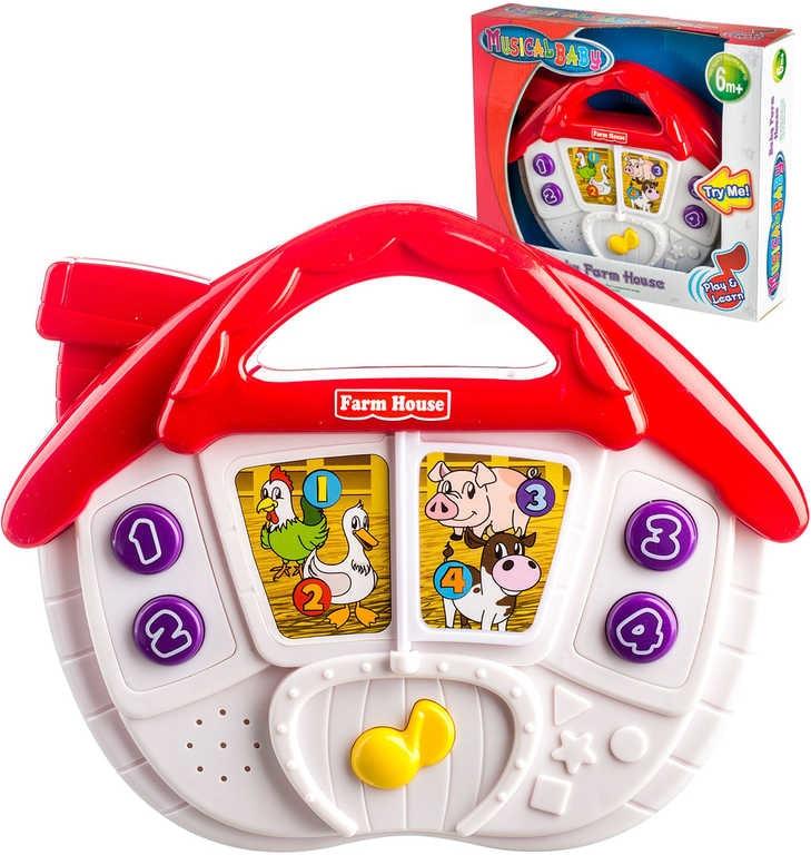 Mix hračky Domeček baby plastový se zvířátky 24cm na baterie