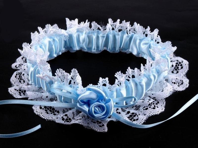Stoklasa Svatební podvazek krajkový šíře v rozmezí od 60-80 mm - 1 modrá jemná