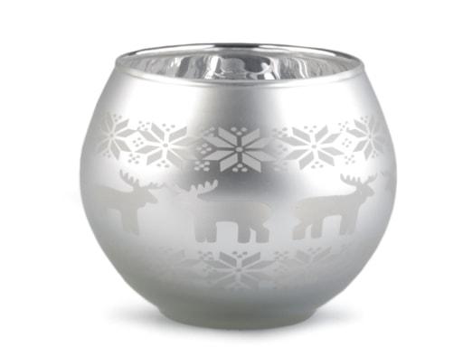 Stoklasa Skleněný svícen vánoční - stříbrná