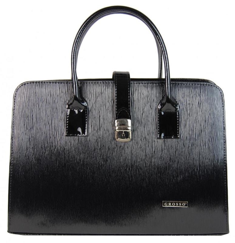Grosso Elegantní černá vroubkovaná dámská aktovka S485