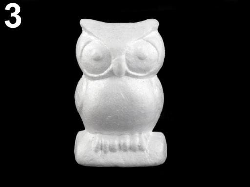 Stoklasa Zajíc, hlemýžď, sova - polystyren - 3 (8x13 cm) bílá