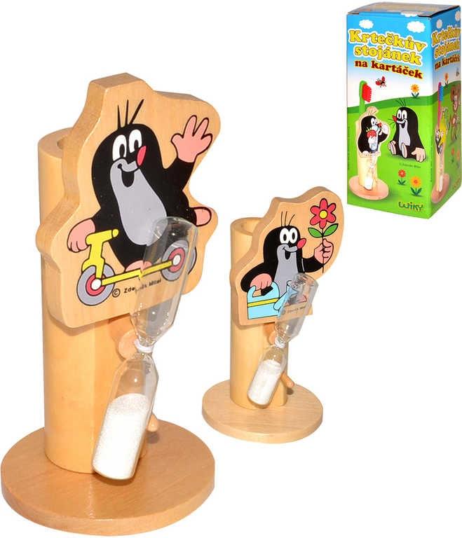 Mix hračky Stojánek na kartáček dřevěný s přesýpacími hodinami Krteček