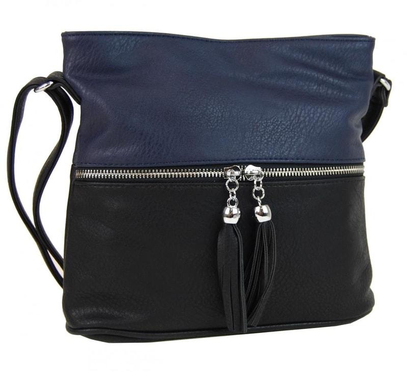 5133eed800 Malá crossbody kabelka se stříbrným zipem NH6020 černo-modrá