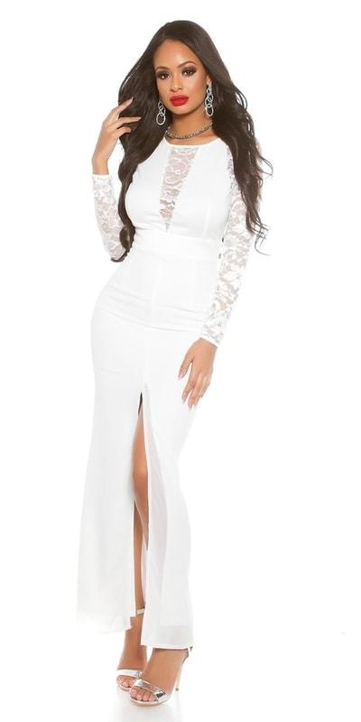 Koucla Dámské bílé dlouhé šaty in-sat1421wh - dle obrázku - 34