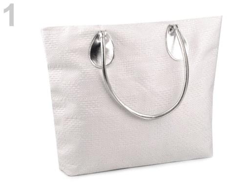 Stoklasa Pletená taška 38x49 cm - 1 bílá mléčná stříbrná