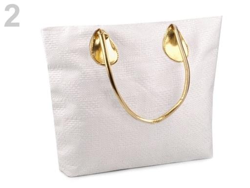 Stoklasa Pletená taška 38x49 cm - 2 bílá mléčná zlatá