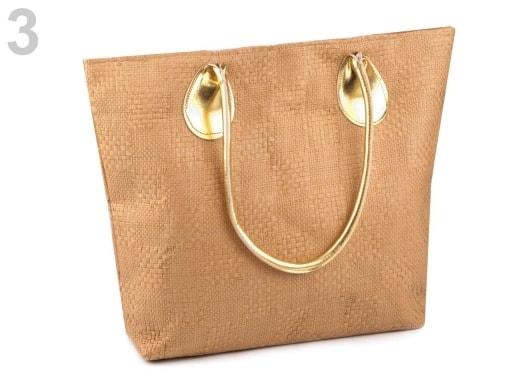 Stoklasa Pletená taška 38x49 cm - 3 hnědá písková zlatá
