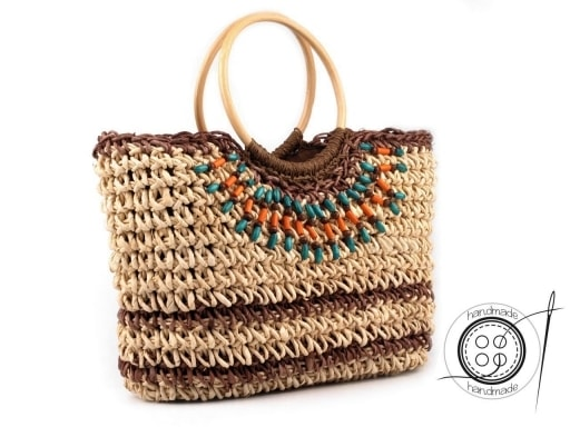 Stoklasa Pletená taška 30x45 cm s korálky - přírodní stř.