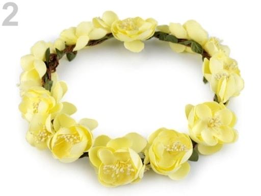 Stoklasa Květinový věneček do vlasů - 2 žlutá světlá