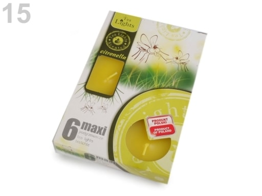 Stoklasa Čajové svíčky vonné velké Ø6 cm - 15 (Citronella) žlutá