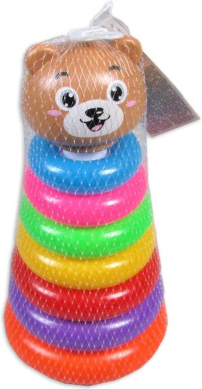 _Ostatní 1_ Medvídek baby navlékačka plastová s kroužky v síťce pro miminko