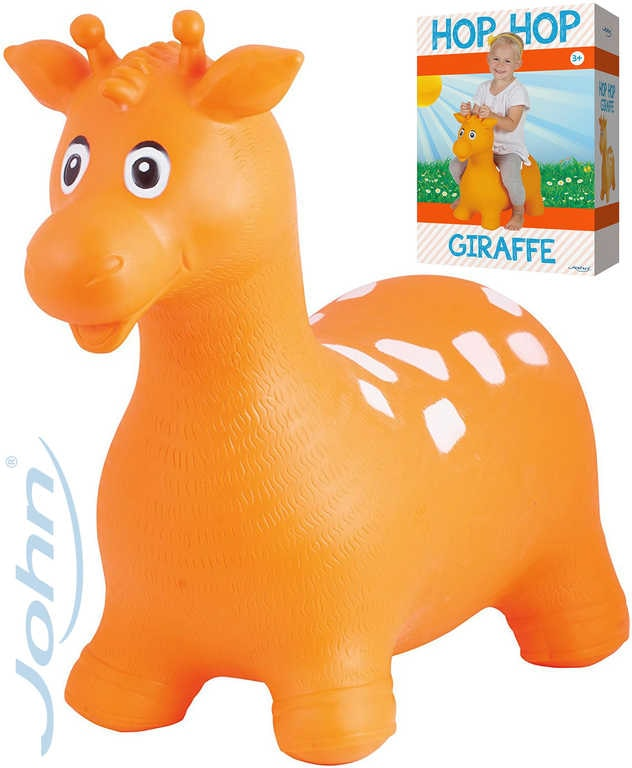 John Hopsadlo Žirafa 55x50cm oranžové skákací zvířátko