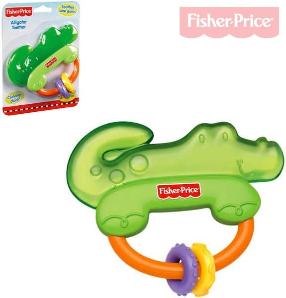 Fisher Price Kousátko Krokodýl s chrastítkem BABY Pro miminko PLAST Karta