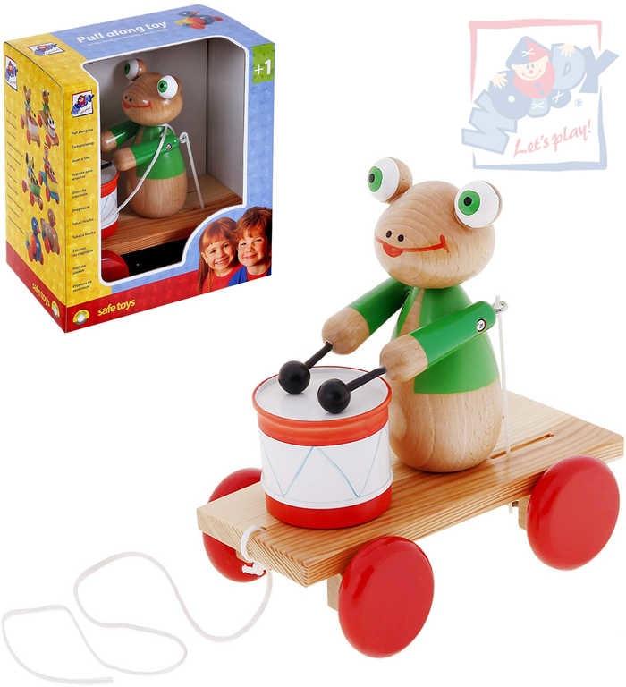 Woody Žába tahací s bubnem tahadlo na kolečkách 90196