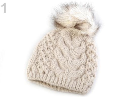 Zimní pletená čepice s bambulí  b9bb7aab38