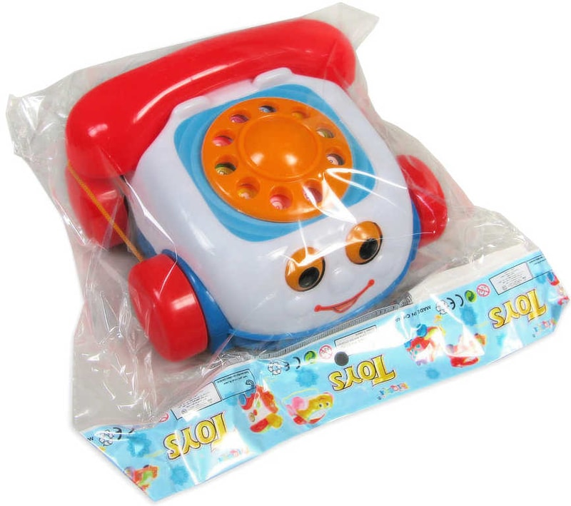 _Ostatní 1_ Baby telefon tahací dětský se šňůrkou na kolečkách obličej plast