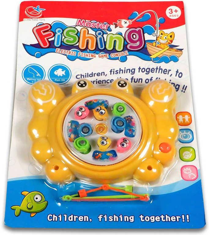 _Ostatní 1_ Hra Rybky dětský rybolov magnetický set se 2 udicemi na kartě plast Zvuk 3 barvy