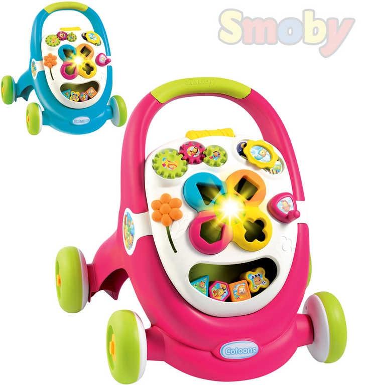Smoby Cotoons baby chodítko plastové na baterie 2 barvy Světlo Zvuk