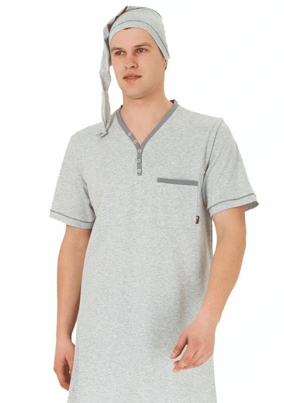 M-MAX Pánská noční košile krátký rukáv Bonifac - šedá světlá - XXXL