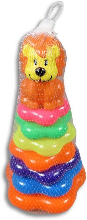 Mix hračky Pyramida baby kroužky navlékací Lev pro miminko plast