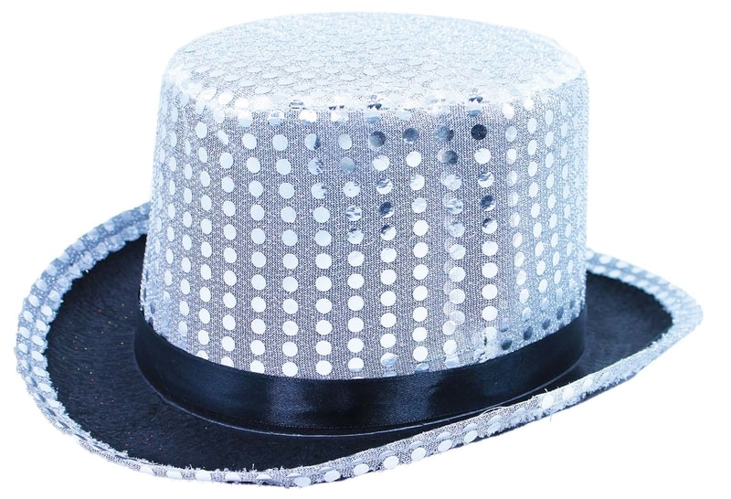 Rappa klobouk cylindr s flitry a stuhou, dospělý