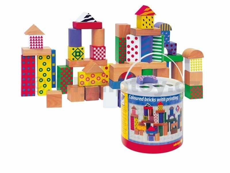 Woody Kostky barevné s potiskem 50 dílků