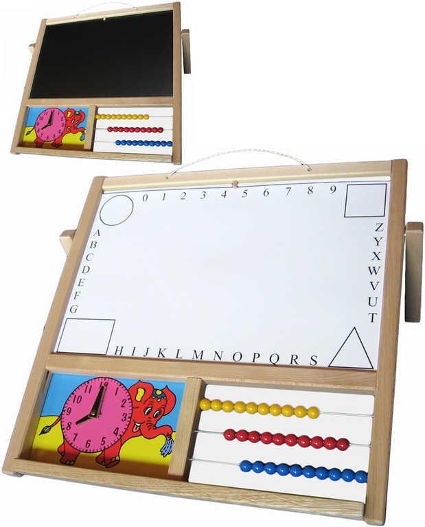Mix hračky Tabule dětská závěsná/stolní na křídy i fixy s počitadlem a hodinami naučná