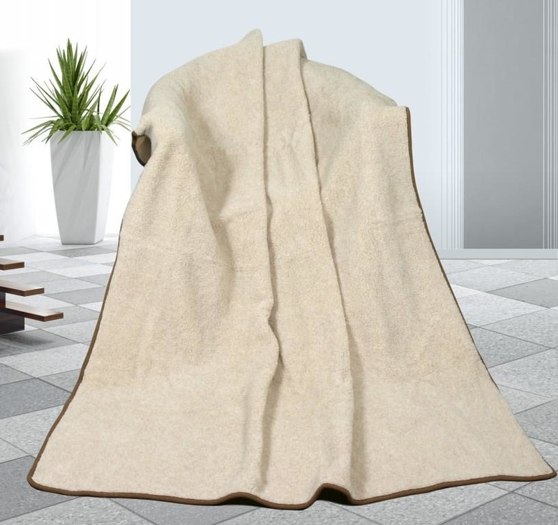 Kvalitex Vlněná deka 155x200cm béžová - evropské merino