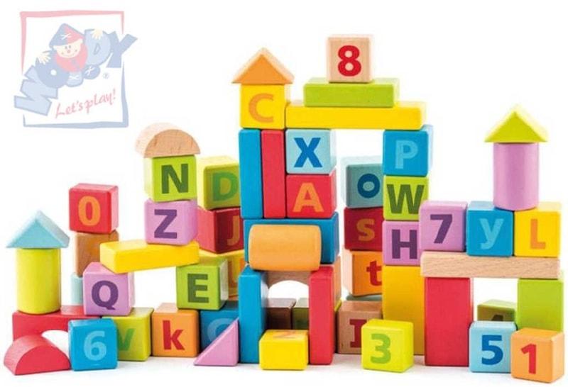 Mix hračky Pastelové baby kostky naučné s písmeny a číslicemi set 40ks