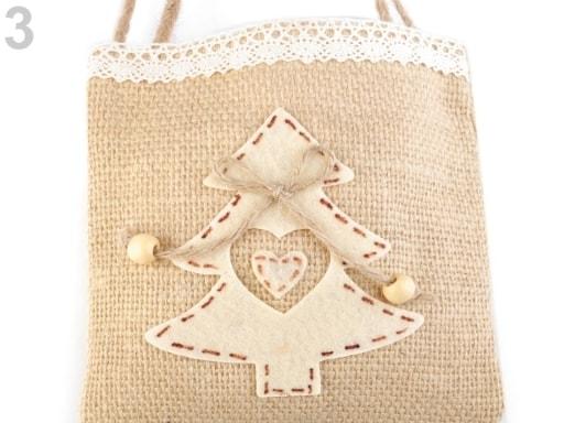 Stoklasa Jutová vánoční taška 15x15 cm - 3 režná přírodní
