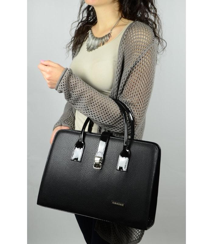 Grosso Luxusní dámská bordová aktovka s kapkovou texturou S563 GROSSO