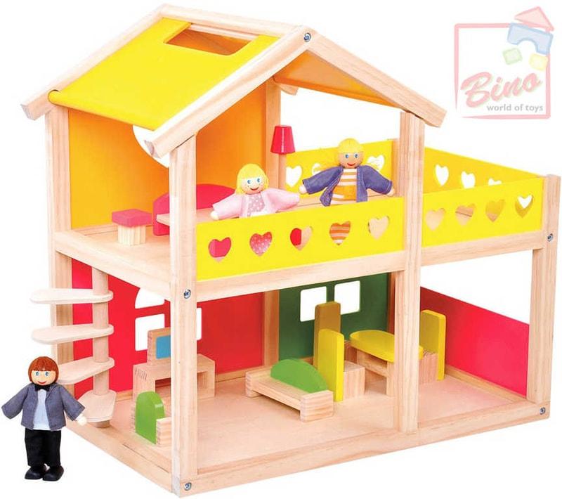 Bino Domeček pro panenky 43x25x41cm set se 3 figurkami a nábytkem
