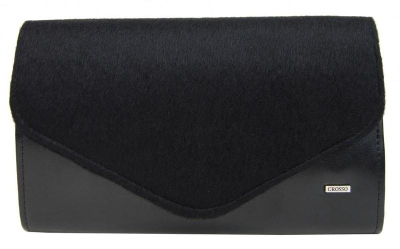 Grosso Černá matná chlupatá společenská clutch kabelka SP102 GROSSO
