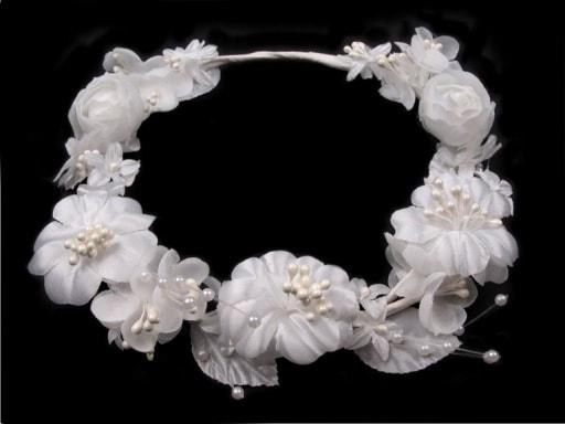 Stoklasa Květinový věneček do vlasů - bílá