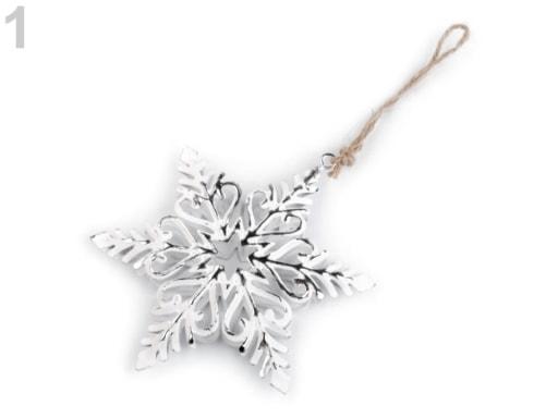 Stoklasa Kovová dekorace vločka - 1 bílá stříbrná